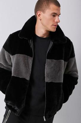 Forever 21 Faux Fur Colorblock Jacket