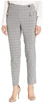 Calvin Klein Plaid Straight Pants with Buttons (Light Grey Glen Plaid) Women's Casual Pants
