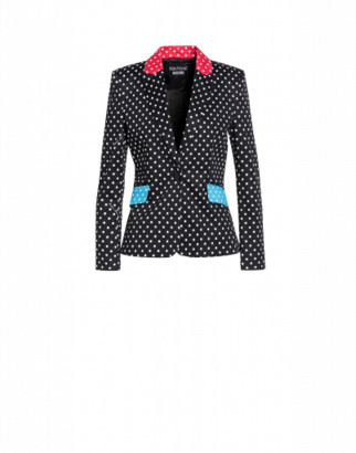 Boutique Moschino Polka Dots Stretch Satin Jacket Woman Black Size 40 It - (6 Us)