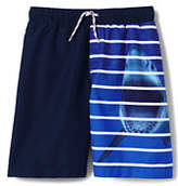 Lands' End Boys Husky Print Blocked Swim Trunks-Shark Stripe