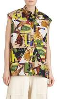 Burberry Hen Printed Sleeveless Button-Front Blouse
