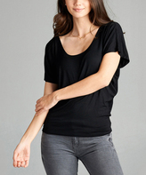 Black Scoop Neck Dolman Tee