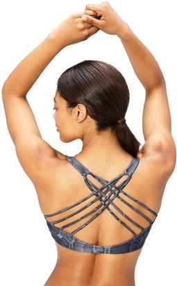 Core 10 Amazon Brand Women's Printed Strappy Back Yoga Sports Bra