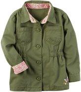Carter's Girls 4-8 Olive Floral Trim Lightweight Jacket