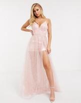 Bariano mesh sequin cami strap maxi dress in blush