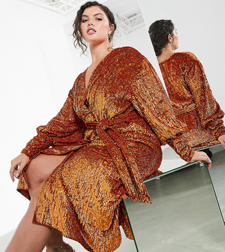 ASOS EDITION Curve sequin wrap midi dress in rust