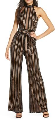 SHO Sequin Stripe Sleeveless Jumpsuit