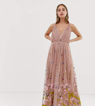 Asos DESIGN Petite tulle maxi dress with delicate floral embroidery and twist straps-Blue