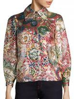 Burberry Floral Metallic Jacquard Flared-Sleeve Shirt
