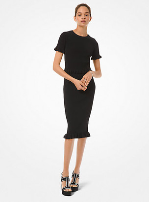 Michael Kors Ribbed Stretch Viscose Ruffle Trim Pencil Skirt