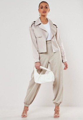 Missguided Sand Oversized Cropped Trench Jacket