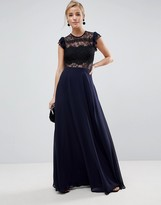 Asos Design Lace Maxi Dress with Lace Frill Sleeve