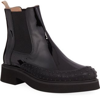 Tod's Chunky Chelsea Patent Leather Booties