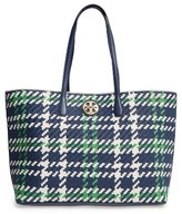 Tory Burch Duet Woven Leather Tote - Blue