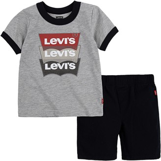 Levi's Levis Toddler Boy 2-Piece Batwing Tee & Twill Shorts Set
