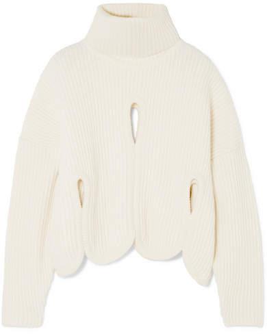 Antonio Berardi Cutout Wool And Cashmere-blend Turtleneck Sweater - Ivory