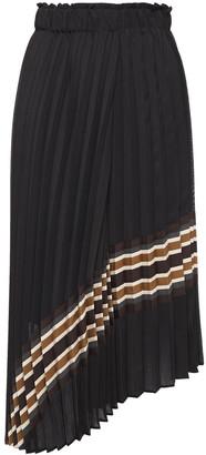Brunello Cucinelli Asymmetric Pleated Striped Woven Midi Skirt
