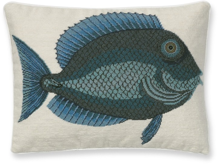Williams-Sonoma Blue Fish Needlepoint Pillow Cover