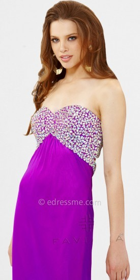Faviana Iridescent Chiffon Beaded Bust Prom Dresses