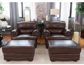 Elements Fine Home Furnishings Charleston Toast Brown Top Grain Leather 4-Piece Chair and Ottoman Set