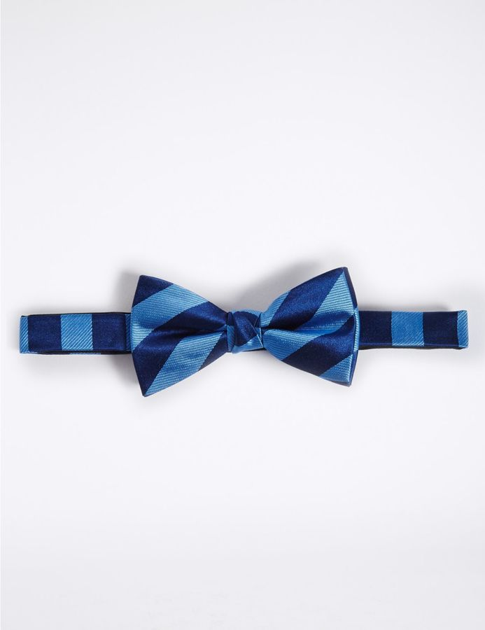 Marks and Spencer Pure Silk Striped Bow Tie