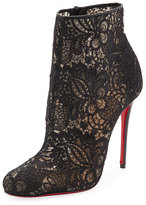 Christian Louboutin Miss Tennis Net Lace Red Sole Bootie, Black