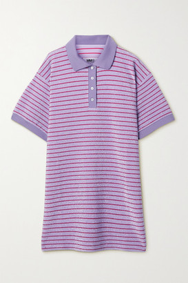 MM6 MAISON MARGIELA Striped Metallic Knitted Mini Shirt Dress - Lilac