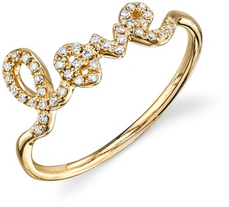 Sydney Evan 14ct Yellow Gold And Diamond Love Ring