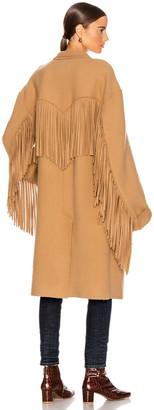 R 13 Fringe Coat in Camel | FWRD