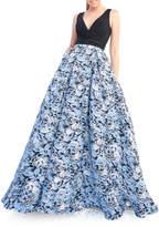 Mac Duggal V-Neck Sleeveless A-Line Novelty Design Gown w/ Pockets