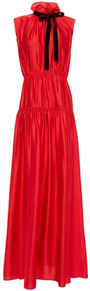 Roksanda Pussy-bow Tiered Satin-crepe Gown