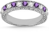 Allurez Heirloom Diamond and Amethyst Wedding Ring Band 18k White Gold Antique Anniversary Band (1.05ct) GH/VS