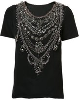 Marchesa chain embellished T-shirt - women - Silk - 6