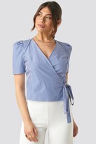 NA-KD Striped Wrap Over Side Top Blue
