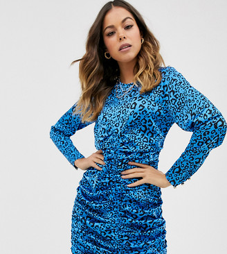 N. Ebonie Ivory Ebonie Ivory ruched front mini dress in leopard-Blue