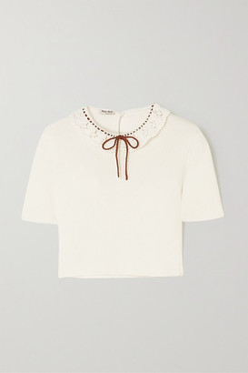Miu Miu Cropped Crochet-trimmed Ribbed Cotton Top - Cream