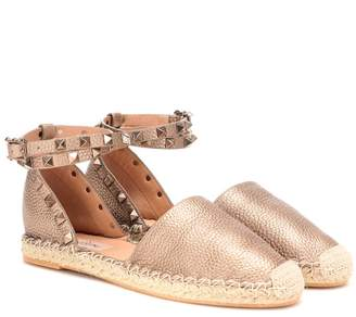 Valentino Garavani Rockstud Double metallic leather espadrilles