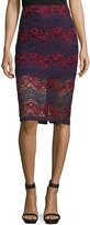 Romeo & Juliet Couture Lace Midi Pencil Skirt, Purple/Navy