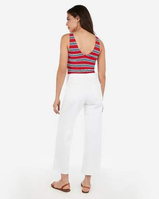 Express Striped Ribbed Cropped Tank