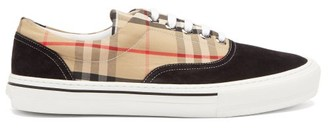 Burberry Wilson House-check & Suede Low-top Trainers - Black