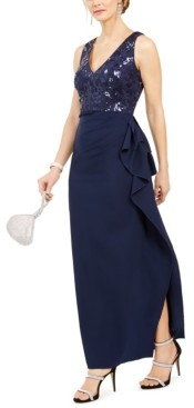 Vince Camuto Side-Ruched V-Neck Gown