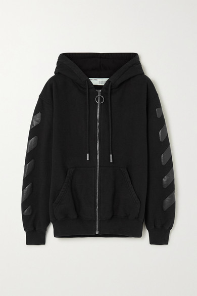 Off-White Off White Printed Cotton-jersey Hoodie - Black