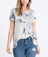 Cool Melon Women's Tee Shirts Ivory - Ivory & Charcoal Tie-Dye Tee - Women & Plus