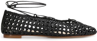 Francesco Russo Woven Lace-Up Ballerina Shoes