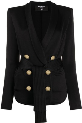 Balmain Double-Breasted Belted Blazer