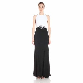 Carmen Marc Valvo Women's Color Block Cutaway Gown with Beaded Trim