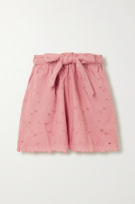 Innika Choo Wilma Butfiet Belted Broderie Anglaise Cotton Shorts - Pink