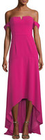 Aidan Mattox Off-the-Shoulder Crepe High-Low Evening Gown