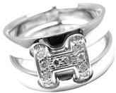 Hermes 18K White Gold Diamond H Double Band Flex Band Ring