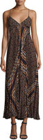 A.L.C. Katia Cross-Back Pleated Multipattern Midi Dress, Brown/Multicolor